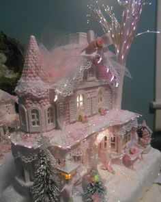 shabby pink victorian christmas village fiber optic  house  chic hp roses