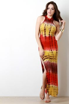 3225a6d55c Sunset Tie Dye Double Slit Maxi Dress Maxi Dress With Slit, Sexy Summer  Dresses,