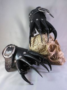 Black Scale Leather Gothic Steampunk Claw Gauntlets / Gloves. $39.95, via Etsy. Is it sad that I might actually wear these in public? xD