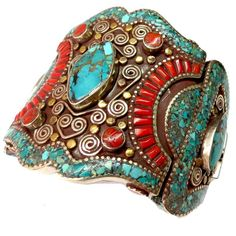 Engraved Metal Bracelet with Turquoise and Coral - Jewelry - Women - Personal accessories