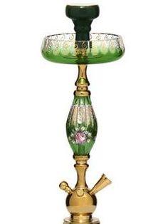 green double cased bohemian glass hookah