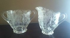 Cambridge Glass Rosepoint Etched Pattern (3900-41) Creamer and Sugar Set