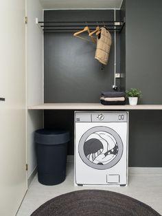 Jyväskylän Vuokra-asunnot Oy:n (JVA) Kurkkaa kotiin -projekti. Sisustussuunnittelu: Heidi Lehto, Sisustuskärpänen. Mukana Kodin Ykkösen Anno-tuotteita. #elämänikoti Decor, Furniture, Room, Home, Ironing Center, Cabinet, Trash Can, Storage, Laundry Room