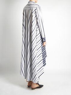 Click here to buy Palmer//harding Striped waterfall-hem cotton-poplin shirt at MATCHESFASHION.COM Shirt Skirt, Blouse Dress, Abaya Fashion, Fashion Dresses, Palmer Harding, Sewing Blouses, Pantalon Large, Chic Dress, Little Girl Dresses