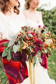 Colorful fall bouquets: http://www.stylemepretty.com/2015/02/10/colorful-late-fall-countryside-inspiration-shoot/ | Photography: Ashley Caroline - http://www.ashley-caroline.com/