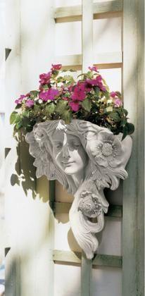 TUSCAN Art Nouveau Face WALL POCKET Planter