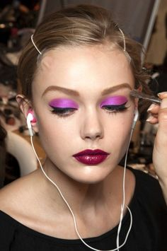 Purple eyeshadow with that lipstick