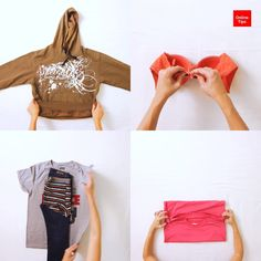 Folding Clothes - To Save Space - Rhiannon J. - Folding Clothes - To Save Space How to fold clothes: to save space OnlineTips - Diy Crafts Hacks, Diy Home Crafts, Diy Crafts Videos, Diy Projects, Diy Videos, Decor Crafts, Simple Life Hacks, Useful Life Hacks, Diy Clothes Videos