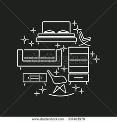 Modern Furniture Cover .Round logos. Loft & black and white style. Trendy colors. Vector illustration - stock vector