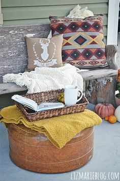 Fall Front Porch - lizmareblog.com The Chic Site, Fall Projects, Happy Fall Y'all, Porch Decorating, Autumn Inspiration, Patios, Fall Halloween, Front Porch, House Tours