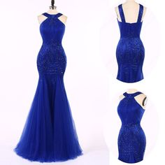 Royal blue prom dress, 2017 Long Prom Dress Beading Sequins Mermaid Prom Dress/Evening Dress