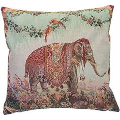 Corona Decor French Woven Elephant Decorative Pillow ($79) ❤ liked on Polyvore featuring home, home decor, throw pillows, multi, elephant throw pillow, french home decor, patterned throw pillows, french throw pillows and elephant home accessories