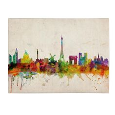Paris Skyline Canvas Art ~ I know this isn't DIY, but I had to share acuz it's seriously cool! Skyline Von Paris, Skyline Art, Horizon Paris, Art Parisien, Wall Canvas, Canvas Art, Wall Art, Wall Mural, Canvas Ideas