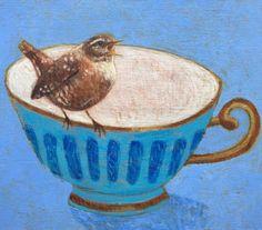Andrea Letterie, Wren on a teacup, Gemengde techniek op hout, 15x17 cm, €.175,-