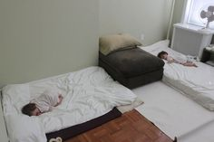 Sleeping For Twins the Montessori way. This mom skipped cribs and opted for floor beds. She secured the room so they would be safe at all hours.