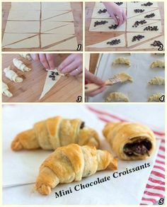 Croissant rolls with chocolate chips or Nutella. Baking Recipes, Dessert Recipes, Pepperidge Farm Puff Pastry, Mini Croissants, Dessert Original, Delicious Desserts, Yummy Food, Chocolate Filling, Breakfast