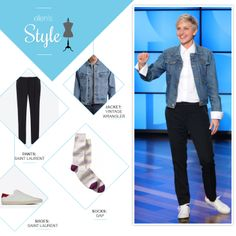 Ellen's Look of the Day: button up shirt, denim jacket, black pants and sneakers. Makeup by Heather Currie @hcurriebeauty