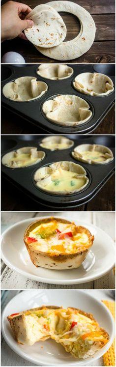 Mini Egg and Cheese Tortilla Cups | Gurman chef