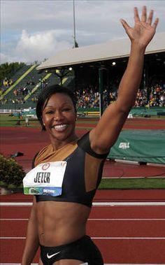 Carmelita Jeter-London 2012 Track and Field; silver medalist in women's Body Inspiration, Fitness Inspiration, Carmelita Jeter, Olympic Athletes, Long Jump, Girl Running, Team Usa, Summer Olympics, Football