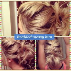 French braid to the crown and create a messy bun. Cute easy casual updo.