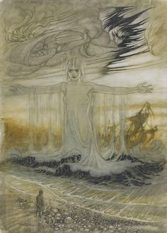 This illustration, which is dated 1912, accompanies the fable 'The Shipwrecked Man and the Sea' Reproduced as one of thirteen colour plates within Aesop's Fables (Heinemann, 1912). Arthur Rackham