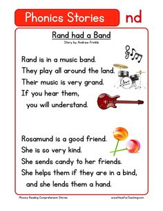 This Reading Comprehension Worksheet - Rand had a Band is for teaching reading comprehension. Use this reading comprehension story to teach reading comprehension.