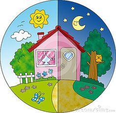 Cute for kids to draw day and night