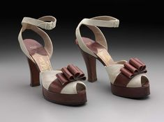 "1940s  American  Brown leather and white suede platform w/ ankle strap, Labeled: "" Hand Made Mackey Starr New York"""