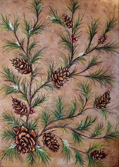Painting - Pine Cones And Spruce Branches by Nancy Mueller , Diy Tree Painting, Christmas Tree Painting, Christmas Art, Christmas Christmas, Branches, Pine Branch, Pine Tree, Pine Cone Art, Pine Cones