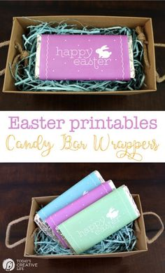 These FREE Printable Easter Candy Bar Wrappers make it easy to make the cutest Easter baskets or quick gifts! Easter Candy, Easter Treats, Hoppy Easter, Easter Activities For Kids, Free Printables, Custom Candy, Free Candy, Candy Bar Wrappers