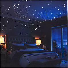 Buy Glow in The Dark Stars Wall Adhesive Dots and Moon for Starry Sky, Decor for Kids Bedroom or Birthday Gift,Beautiful Wall Decals for Any Room by LIDERSTAR,Bright and Realistic. Star Bedroom, Kids Bedroom, Edgy Bedroom, Dark Bedroom Walls, Dark Rooms, Bedroom Black, Bedroom Inspo, Awesome Bedrooms, Beautiful Bedrooms