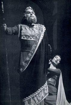 Covent Garden June 1959 Maria Callas as Medea pleads with Creon [Nicola Zaccaria].