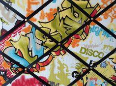 Medium 40x30cm Graffiti Skater Park Print Black Ribbon Hand Crafted Fabric Notice / Memory / Pin / Memo Board £15.99