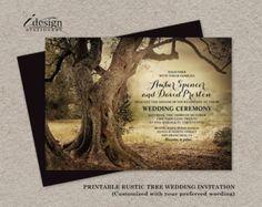 Woodland String Lights Wedding Invitation With Rsvp