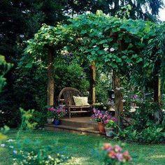 Prieeltje in een tuin