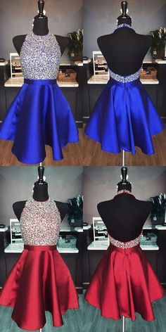 Halter Neck Homecoming Dress Short Beaded Graduation Dresses Dance Dress Sweet 16 Dress, Shop plus-sized prom dresses for curvy figures and plus-size party dresses. Ball gowns for prom in plus sizes and short plus-sized prom dresses for Royal Blue Homecoming Dresses, Backless Homecoming Dresses, Prom Dresses 2018, Prom Gowns, Dress Prom, Short Prom Dresses, Party Dresses, Dresses Dresses, Beaded Dresses
