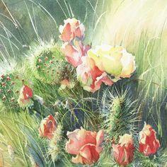 Cactus Flowers - watercolor by Linda Swan