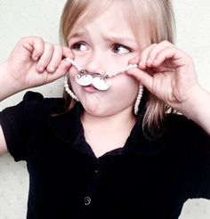 Pearl Mustache Necklace for Little Girls, Hand-Stamped with Whatever the Diva Desires. $20.00, via Etsy.