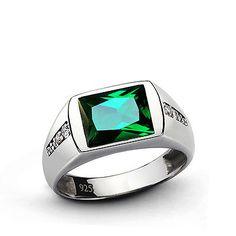 Anillo Esmeralda para hombre con Diamantes Naturales 0.08ctw sólido de plata esterlina 925