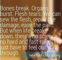 """Bones break. Organs burst. Flesh tears. We can sew the flesh, repair the damage, ease the pain. But when life breaks down ,there's no science, no hard and fast rules. We just have to feel our way."""