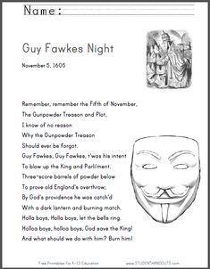 Remember, remember the Fifth of November, the Gunpowder Treason and Plot...