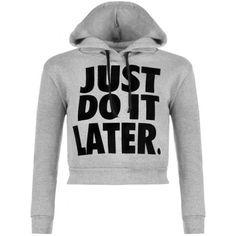 Alya Do It Later Crop  Hoodie ($22) ❤ liked on Polyvore featuring tops, hoodies, print crop top, hooded sweatshirt, hooded tops, hooded crop top and cropped hoodies