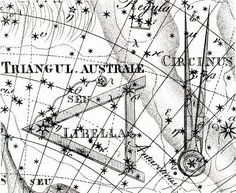 """Circinus from the Uranographia of Johann Bode, with Triangulum Australe to its left and Norma (the set square and ruler) just off the top of the picture. Circinus and Norma are two constellations invented by 18th century astronomer Nicolas Lacaille. Mona Evans, """"Lacaille's Skies – Arts"""" http://www.bellaonline.com/articles/art184008.asp"""