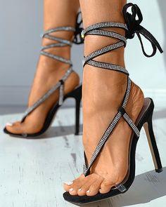 Strappy Heels, High Heels, Toe, Legs, Sandals, Black, Products, Fashion, Moda