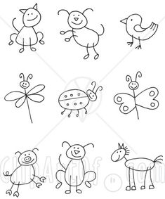 Easy reference for drawing stick animals. This would help me draw better so the kids don't laugh at me.