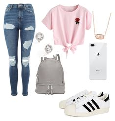 """School outfit"" by pinkj3w3l ❤ liked on Polyvore featuring adidas Originals, Topshop, WithChic, Michael Kors, Givenchy and Kendra Scott"