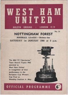 Vintage Football (soccer) Programme - West Ham United v Nottingham Forest, 1965/66 season.