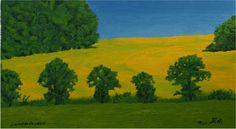 Champs de colza (Rapsfeld, field of oilseed rape) - Öl auf Sperrholz, oil on wood, huile sur bois - 35 x 50 cm