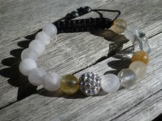 Yin Yang Citrine Faceted and Matte Rose Quartz Shamballa Bracelet