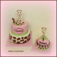 Sophie the Giraffe - Cake by Karen Dodenbier Giraffe Party, Giraffe Cakes, Baby Shower Giraffe, Baby Shower Cakes, Baby Girl Birthday Cake, Giraffe Birthday, Sophie Giraffe, Jungle Cake, Celebration Cakes
